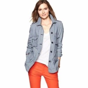 Gap M Railroad Stripe Utility Jacket Military Blue